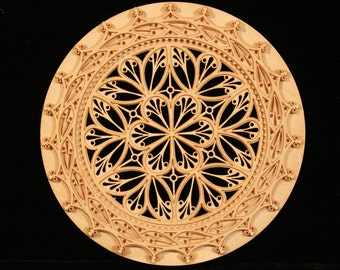 Harpsichord Rose, Parchment Rose, for early music, virginal, mandolin, baroque guitarintricate design, laser cut,