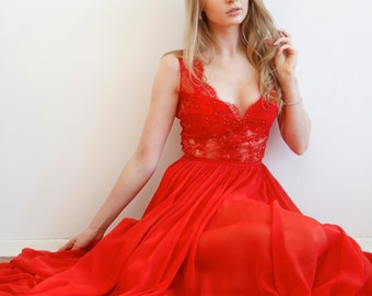 Maxi Silk and Lace Red Gown Unique Handmade Nude Dress Haute Couture