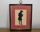 Vintage Framed Silhouette, Revolutionary War Era Man Smoking Pipe