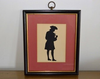 Vintage Framed Silhouette, Revolutionary War Era Man Smoking Pipe