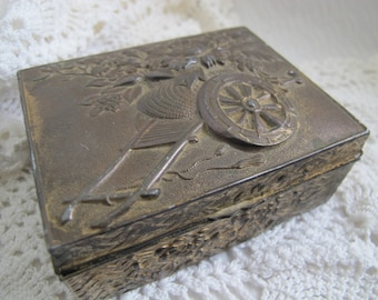 Cedar lined Silverplate Cigarette box / Flower embossed trinket box / flower cart embossed box / weathered silver box
