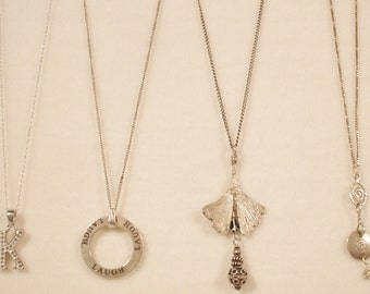 4 Vintage Sterling Silver necklaces, 1 signed Roggio