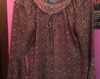 Vintage paisley peasant blouse top