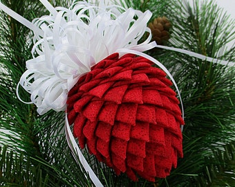 Fabric Pinecone Ornament - Patterned Red with White Satin Ribbon - Stocking Stuffer, Christmas Ornament, Co-Worker Gift