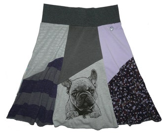 French Bulldog Women's Small Medium Upcycled Skirt Boho Hippie recycled t-shirt clothing from Twinkle