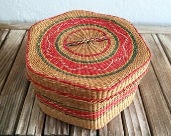 Vintage Woven Sweet Grass Basket