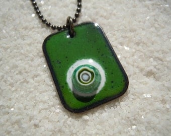 Green Enamel Pendant Necklace Jewelry