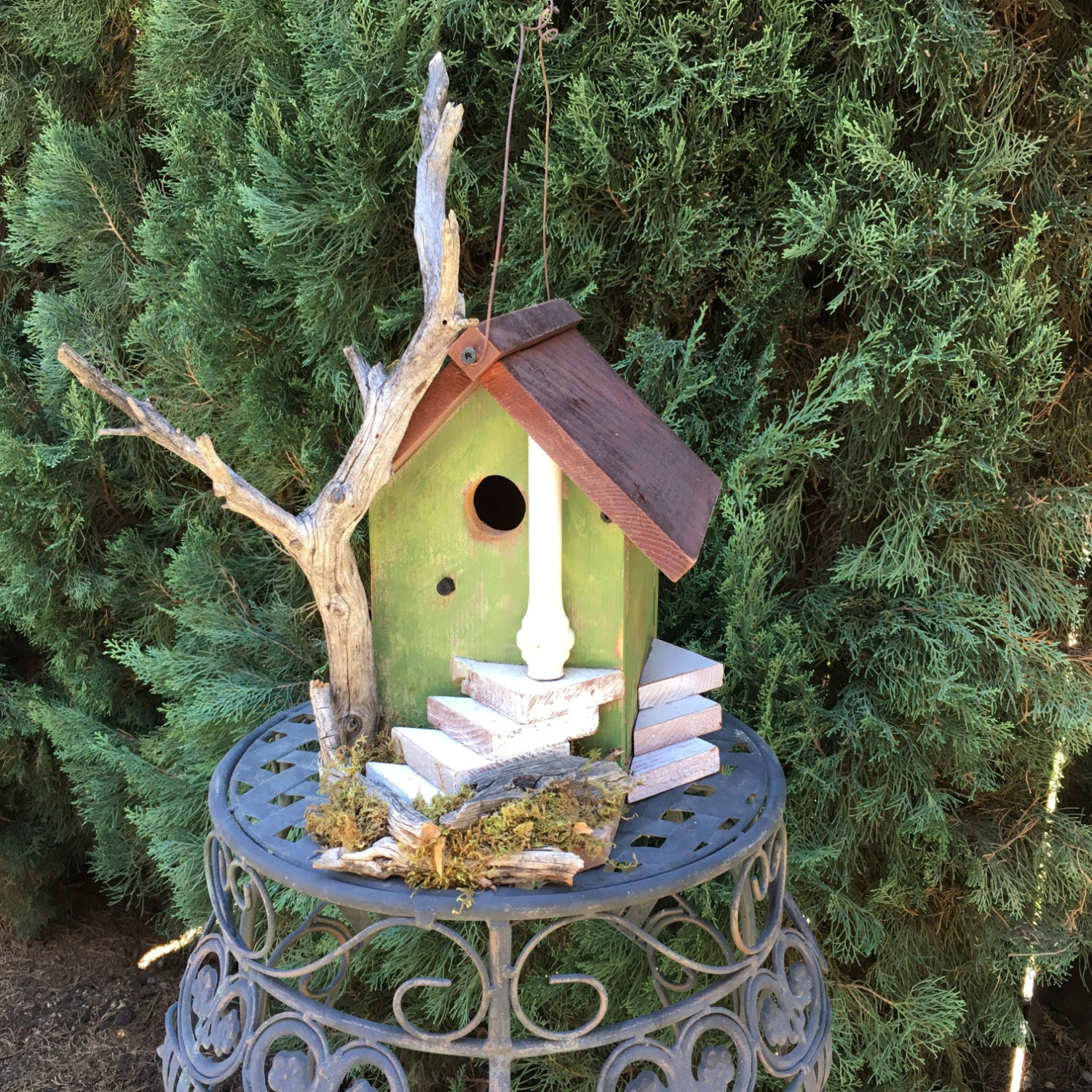 Rustic wood birdhouse functional unique with natural for Unusual house decorations