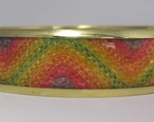Vintage Bangle - Sherbet Flavors - Brass and Fabric Bracelet Bangle- Vintage Bracelet
