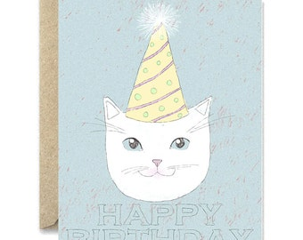 Cat birthday card- little cat in a party hat- birthday greeting card