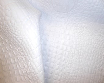 "Leather 8""x10"" ALLIGATOR / Crocodile MATTE White embossed Cowhide 2.5-2.75oz/1-1.1 mm PeggySueAlso™ E2860-04"