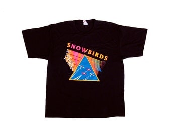 Historic 80s Neon Canadian Snowbirds Aerobatics T-Shirt- XL