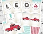 Red Truck Birthday Banner - Vintage look!