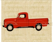 Old red truck instant clip art digital download for iron on image transfer to fabric burlap tote pillow Decoupage Card Christmas No. 2276P