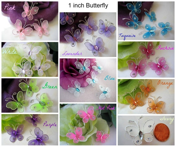 1 inch Nylon Butterfly Turquoise, Pink, Blue, Fuchsia, White, Green with Rhinestone Center Embellishments, Baby Shower, Baptism, 20 pieces