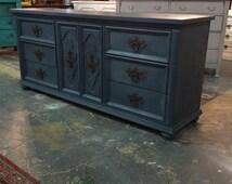 6 Drawers/ 2 Doors Long Dresser /Buffet Aubusson/Graphite