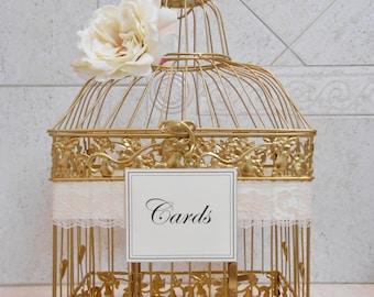 Large Gold Wedding Birdcage Card Holder / Wedding Card Box / Wedding Card Holder / Wedding Birdcage