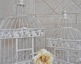 White Wedding Birdcage Set / Wedding Card Holder / Wedding Card Box / DIY Wedding Birdcage / White Birdcages / Wedding Decoration