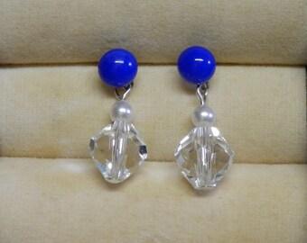 Blue Earring, Fused Glass Earring, Royal Blue Earring, Swarovski Crystal Earring, Blue Stud Earrings, Blue Post earring, Dangle Earring