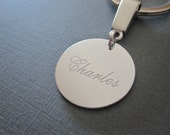 White Gold Laser Engraved Name Keychain - 2 different pendant sizes
