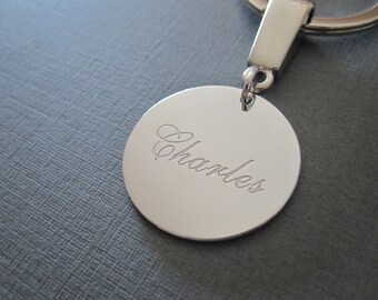Personalized White Gold Laser Engraved Name Keychain - 4 different pendant sizes