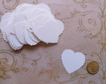 50 White Scallop Heart Punchies / Shapes made using Cardstock for Wedding Tags Crafts Cards