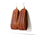 Leather Earrings / Sliced Leather / Woven Harvest Brown