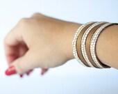 Leather Bracelet / Original Double Color Sliced Cuff / Cinnamon Chai