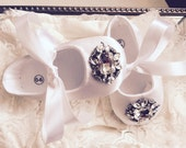 Baby Girl  white satin   Crib Shoes  ,Baby Shoes,Christening, Baptism, Wedding, Ready to ship