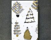 Ships Free - Gold and Black Christmas Trees Holiday Wrapping Paper, 2 Feet x 10 Feet - Golden Holiday Collection - Free US shipping