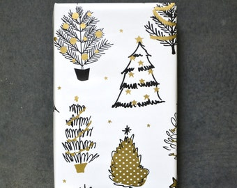 Gold and Black Christmas Trees Holiday Wrapping Paper, 2 Feet x 10 Feet - Golden Holiday Collection