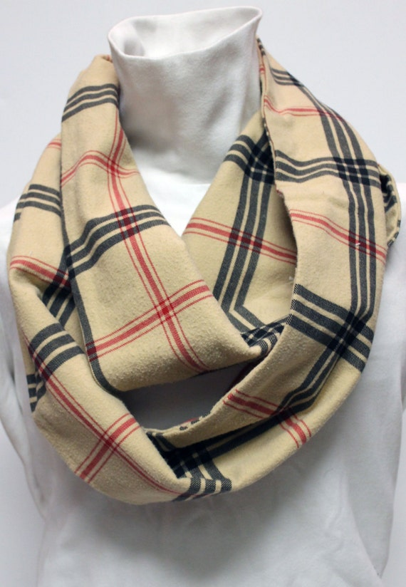 Upcycled Tan Plaid Infinity Winter Scarf