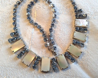 Vintage 50s, 60s Blue Diamante and Mother of Pearl Necklace.