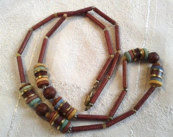 Vintage Egyptian Revival Glass Bead Necklace, Age Unknown.