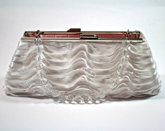 White satin clutch, ruffled fabric clutch, framed clutch, bridal purse, bridesmaid gift,  Bozies Bags