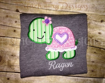 Turtle Hearts Personalized with Name Applique TShirt
