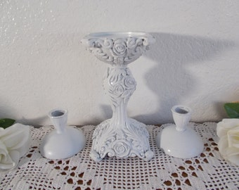 White Shabby Chic Unity Wedding Candle Holder Set Taper Pillar Reception Decoration French Country Farmhouse Romantic Cottage Home Decor