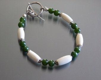 Handmade artisan jade and bone bracelet by fire forged studio