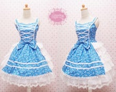 Baby Blue Lolita Dress in Cute Zebra Fabric Pattern Combine With White Brocade Skirt and Pom Pom Lace - Custom to your size