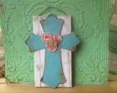 Shabby Chic White and Aqua Cross Hanger, Wooden Home Decor Cross, Rustic Cross Door Hanger