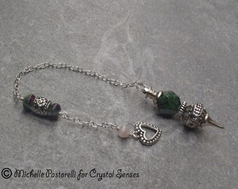 Love Ruby Zoisite Gemstone Dowsing Pendulum (DP0290)