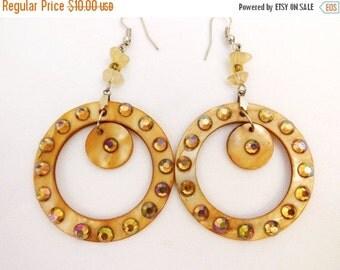 Vintage  hoop shell and AB circular earrings