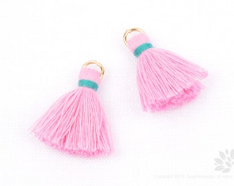 T002-CO-PG// Pastel Pink, Green Jade Cotton Tassel Pendant, 4pcs, 23mm
