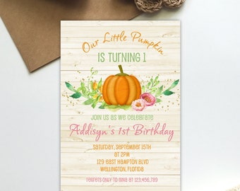 Pumpkin Birthday, Pumpkin Invitation, First Birthday, Fall Birthday, Little Pumpkin Birthday Party, Fall Invitation