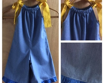 Denim Pillowcase Shorts Romper, size 4t