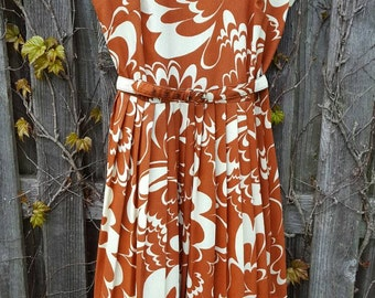 Vintage 1960's Rust and White Paint Swirl Belted High Neck Mid Length Pleated Dress