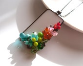 Stained glass jewelry, statement jewelry, gift for women, bohemian jewelry, colorful necklace, engagement gift, beaded, fashion jewelry