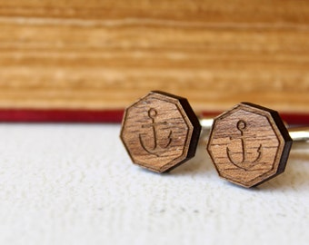 Anchor Cuff Links, Laser Cut Wood
