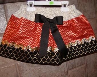 Girls Skirt Custom skirt...Christmas Chevron Gold N Lattice..Available in 0-12 months, 1/2, 3/4, 5/6, 7/8, 9/10 Bigger Sizes Available
