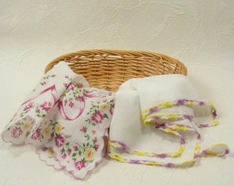 Two Vintage Handkerchiefs Fuchsia Pink, Purple and Yellow Floral Hankies One White with Hand Crocheted Scalloped Edge